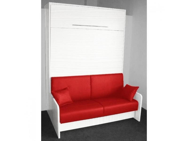armoire lit escamotable space sofa ch ne blanc canap int gr rouge couchage 160 20 200 cm. Black Bedroom Furniture Sets. Home Design Ideas