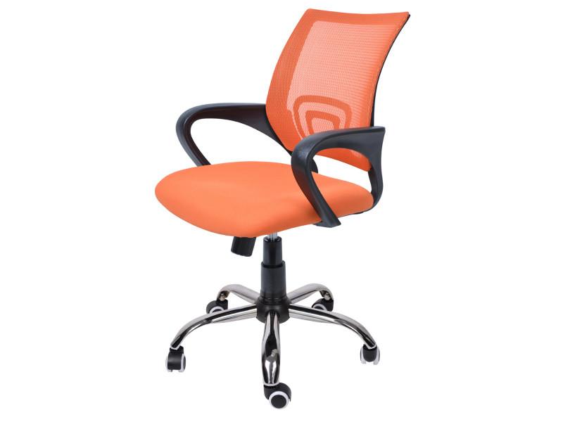 Tissu Et En Bureau MailleSur Roulettes De Orange DimL Chaise gbY76yf