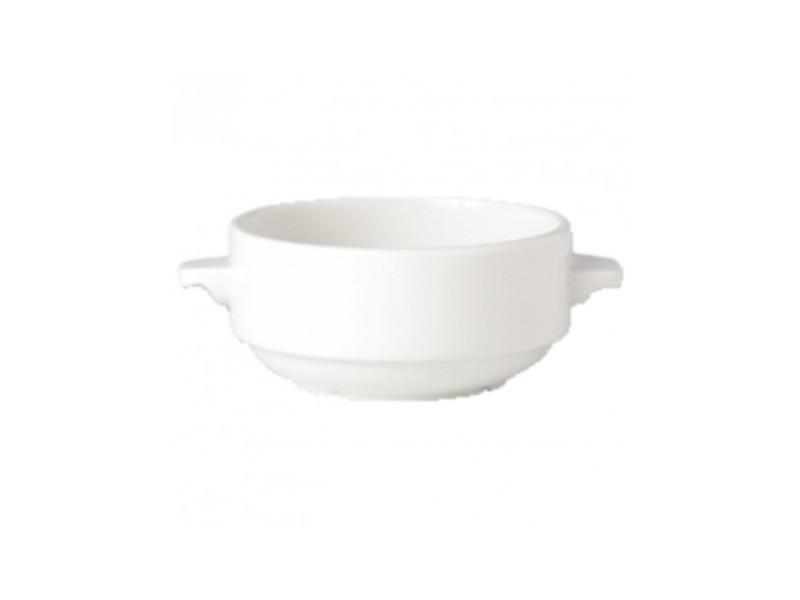 Bols à soupe 285ml avec oreilles empilables steelite simplicity white - vendus par 36 - 0 cm porcelaine 28,5 cl