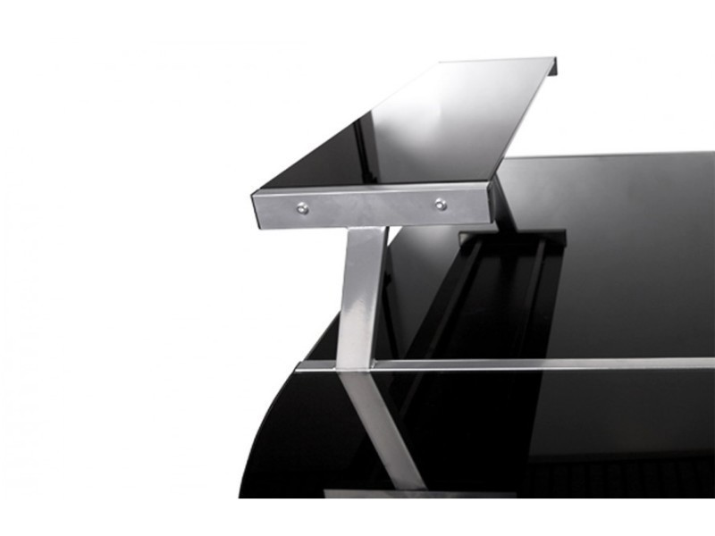 Bureau d angle modulable design avec plateau en verre noir peek