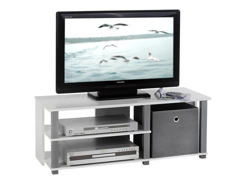 Meuble banc tv design denver décor blanc et gris