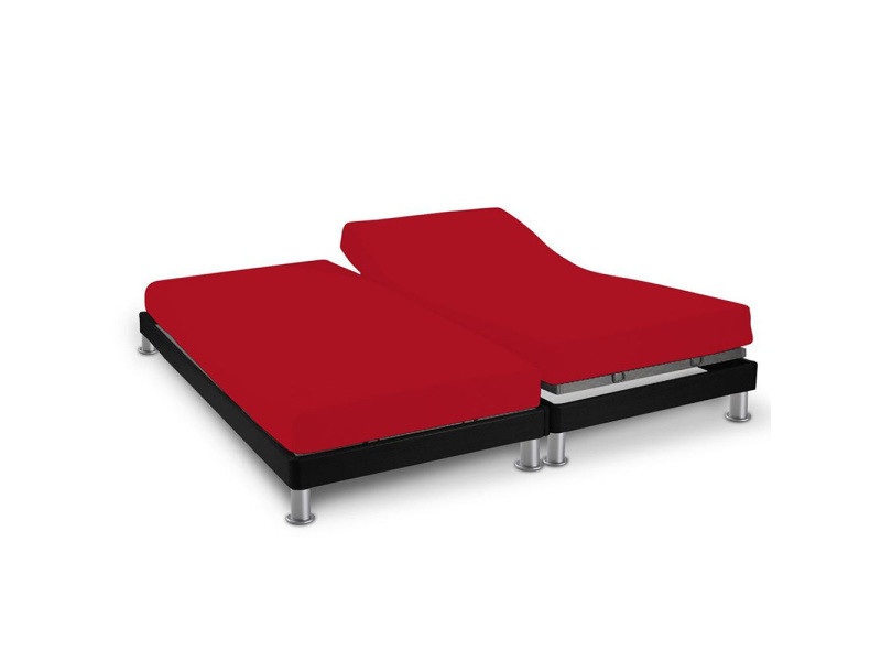 Drap housse double 2x70x190cm rouge 100% coton 57 fils/cm²