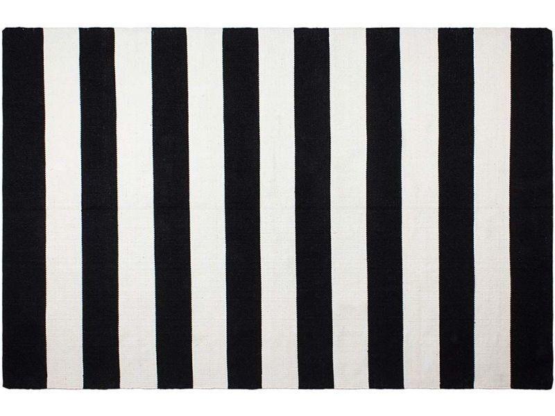 Tapis en polyéthylène recyclé nantucket noir et blanc 90 x 60 cm
