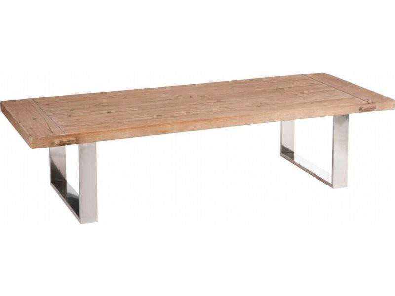Table De Salon Rectangulaire Boismetal Naturelargent 180x70x45cm