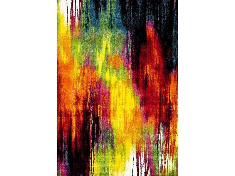 Tapis contemporain pour la chambre jolia 1 noir, creme, rouge, jaune ...