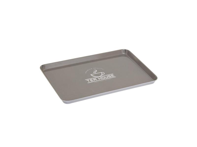 Secret de gourmet - plateau en mélamine gris 30 x 22 cm aroma