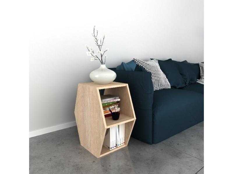 Homemania table basse gift porte-revue - avec étagères - sonoma en bois, 33,6 x 52 x 60 cm