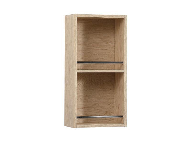 Meuble de rangement ouvert will - meuble haut salle de bain - décor chêne ou blanc laqué