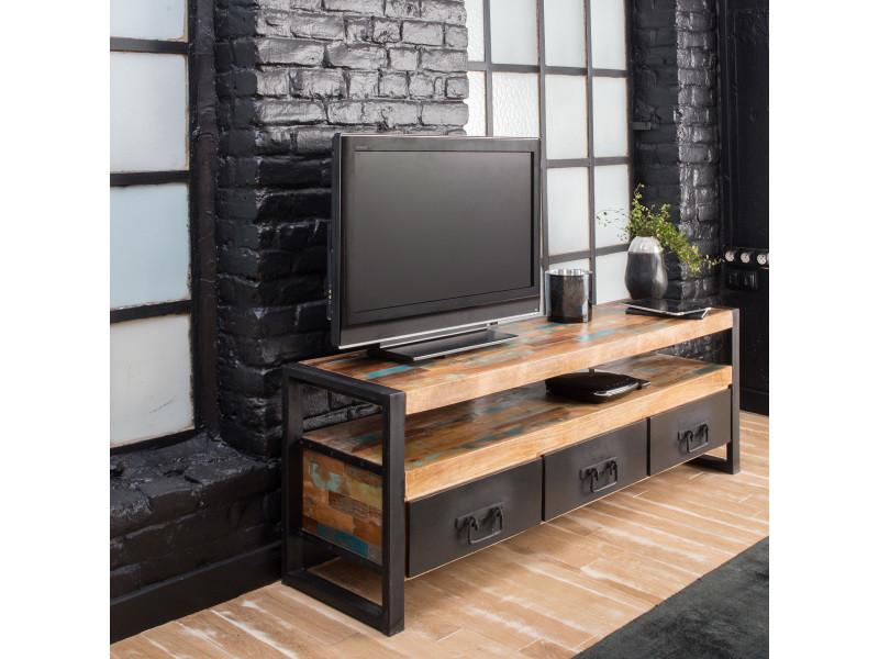 Meuble tv industriel 3 tiroirs bois et m tal mox12 vente de meuble tv conforama - Meuble industriel bois et metal ...