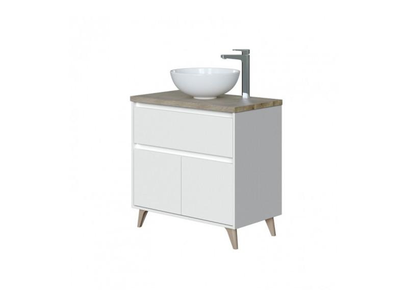 Meuble bas salle de bain avec 2 portes coloris alaska chêne à nœuds/blanc brillant - hauteur 80 x longueur 80 x profondeur 45 cm