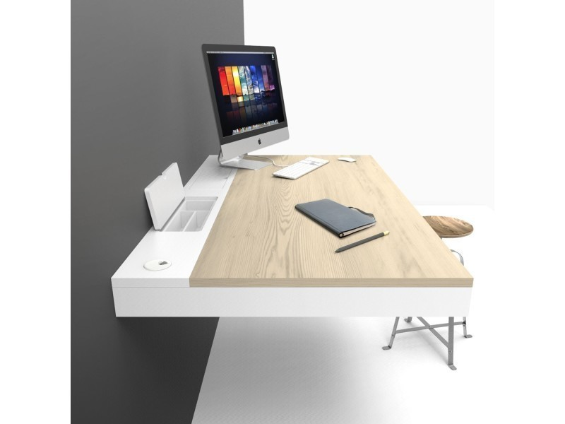 bureau mural bois blanc design 120 cm hang vente de bureau conforama. Black Bedroom Furniture Sets. Home Design Ideas
