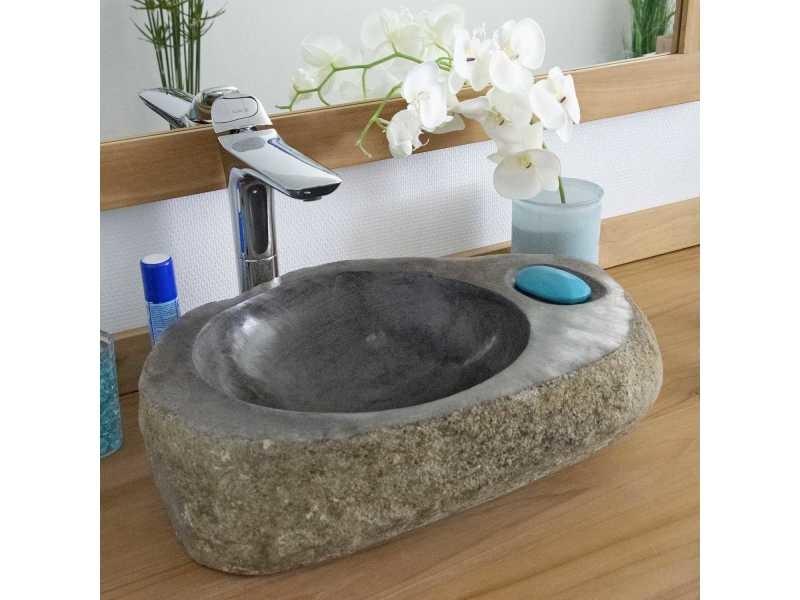 Vasque de salle de bain à poser en pierre de rivière ø 40 cm - playa -  Vente de OCEAN LINE - Conforama f2de6140d566