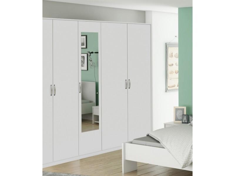 Armoire 5 portes blanc perle largeur 216 cm am126 - Vente ...