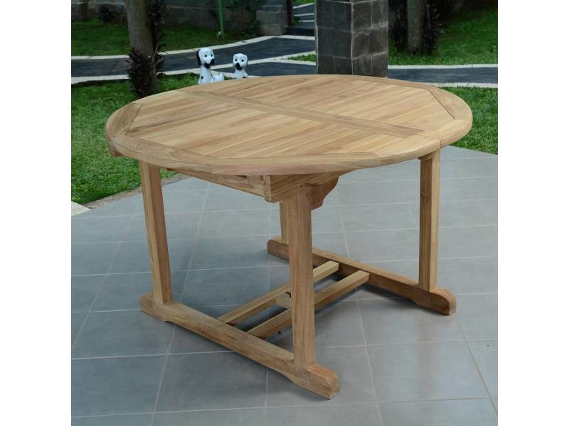 Table de jardin en teck extensible ø 120 cm - roma Teck ...