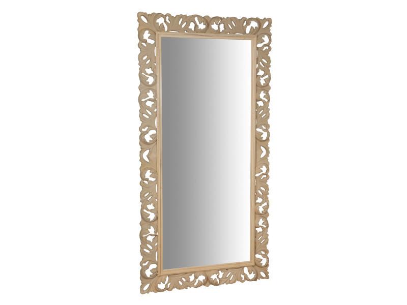 Miroir, long miroir mural rectangulaire, à accrocher au mur, horizontal et vertical, shabby chic, salle de bain, chambre à coucher, cadre finition brute, grand, long, l106xp6xh205 cm. Style shabby chic.