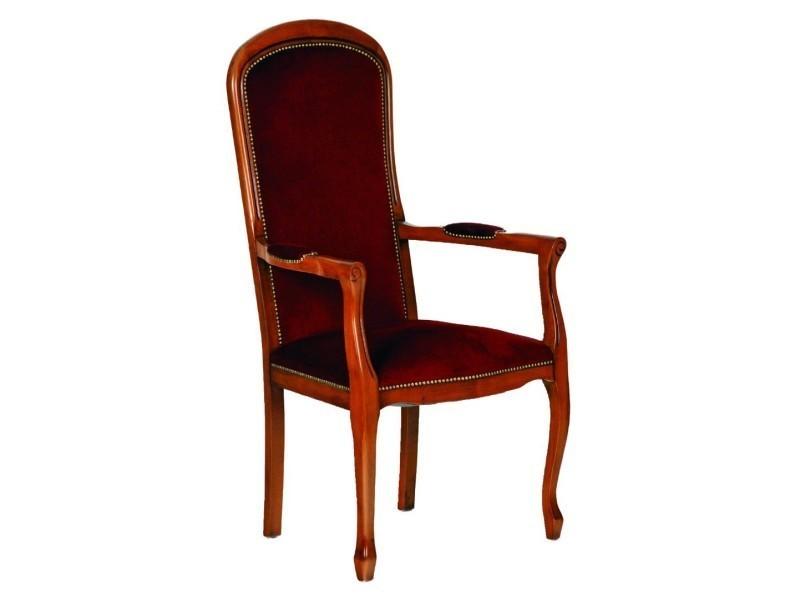 fauteuil assise haute voltaire merisier et velours bordeaux 20100841790 vente de tous les. Black Bedroom Furniture Sets. Home Design Ideas