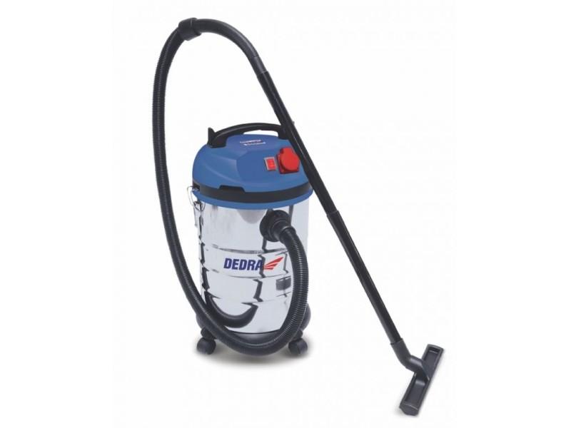 Dtools | aspirateur industriel eau et poussière | puissance 1400 w | cuve inox capacité 30 l | aspirateur atelier | filtre hepa | bleu