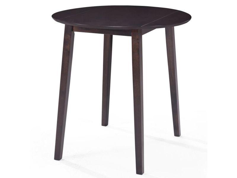 Chic tables collection nicosie table de bar bois massif de sesham 90 x 91 cm marron foncé