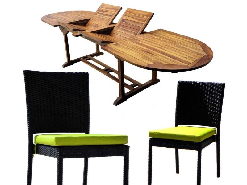 Salon de jardin en teck grande taille - 10 chaises résine tressée ...
