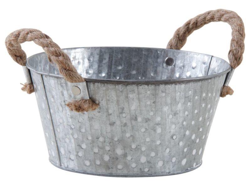 Corbeille métal à pois blanc avec anses