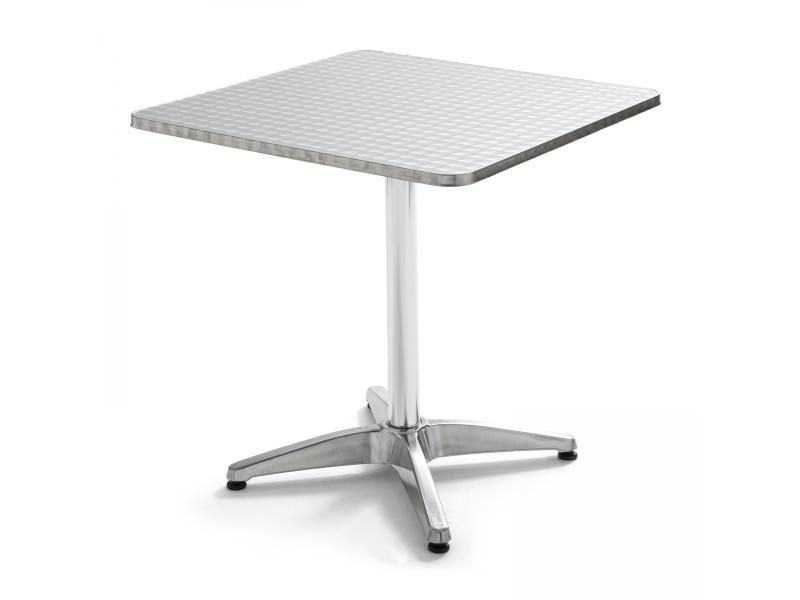 Table de jardin carrée en aluminium 4 places aluminium gris