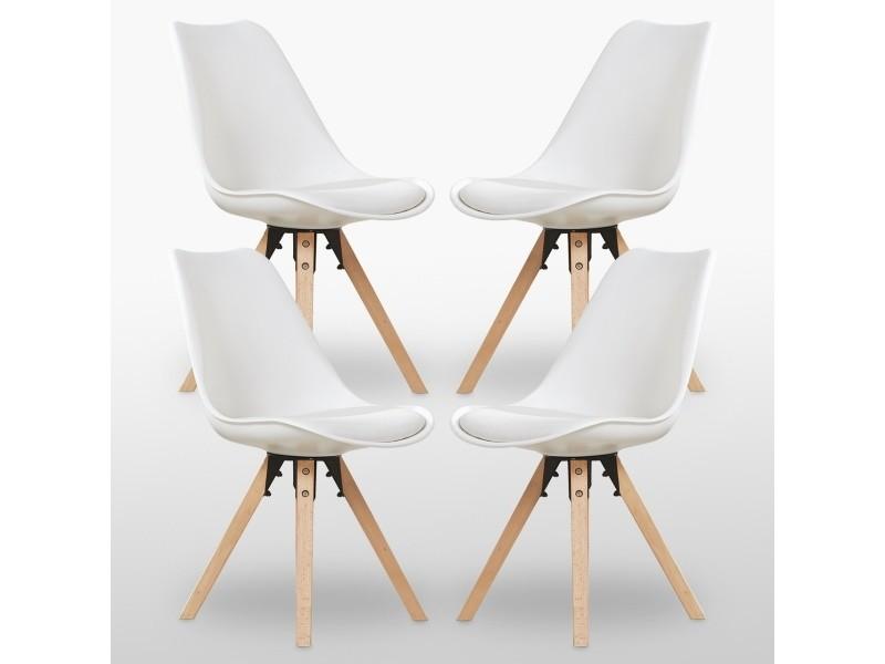 Lot de 4 chaises scandinaves blanches - sofia