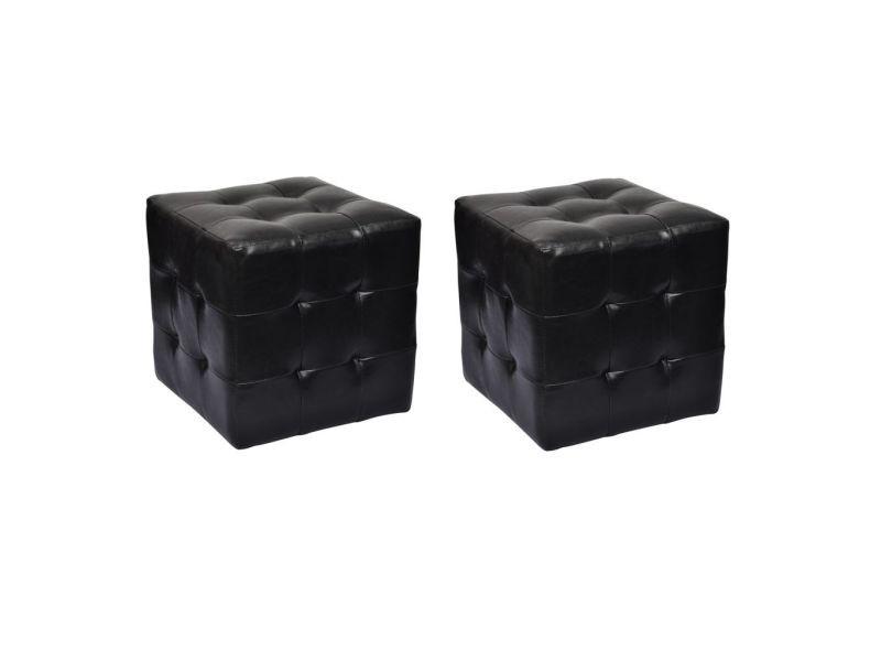 Vidaxl pouf cube capitonné noir (lot de 2) 60740