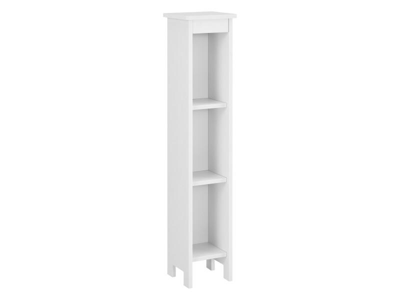 Meuble colonne pour salle de bain meuble de rangement avec 3 compartiments de stockage ouverts bois composite 80 x 17 x 17 cm blanc [en.casa]