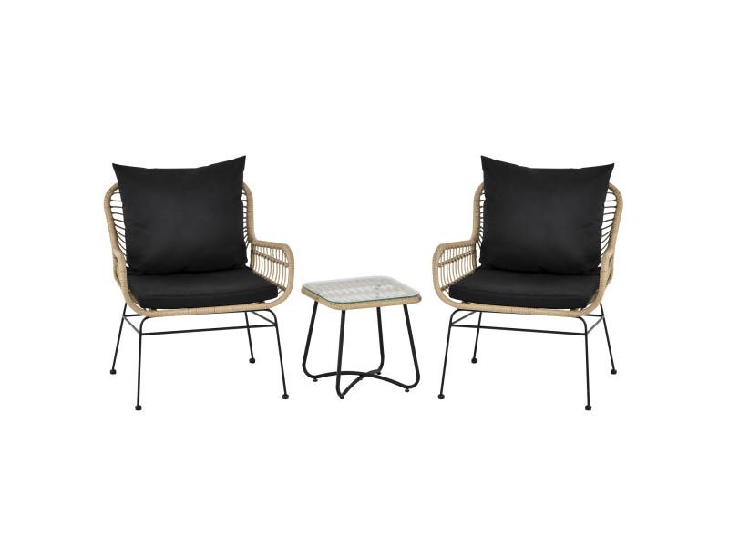 Ensemble salon de jardin 3 pièces style exotique 2 fauteuils avec coussins + table basse résine tressée beige métal époxy noir