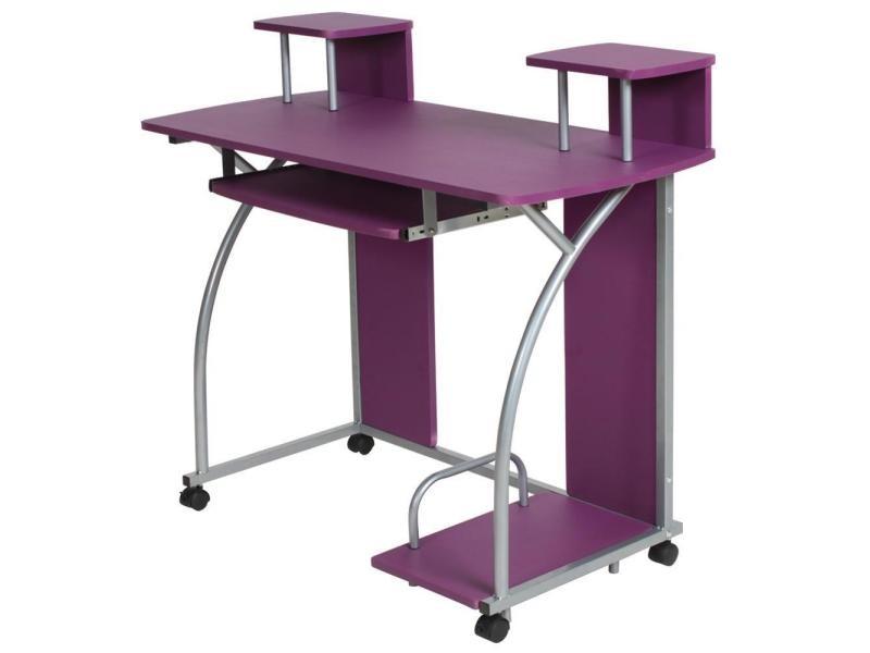 Bureau enfant table de travail meuble mobilier chambre violet