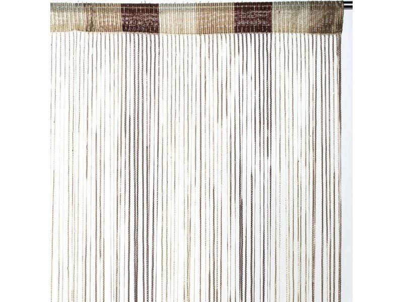 Rideau fils tricolore brillant - chocolat - dimensions : 90x240cm ...