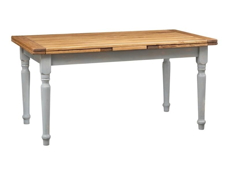 Table à rallonge champêtre en bois massif de tilleul massif, cadre gris antique, plateau fini naturel