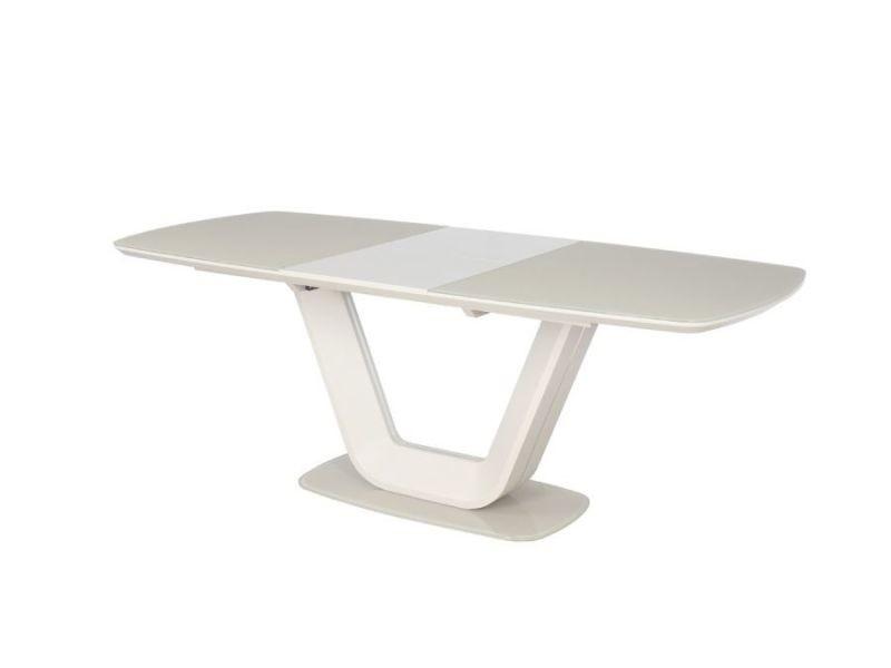 Yolene - table moderne de salle à manger - 160x90x76 cm - plateau en mdf et verre trempé - base en mdf - crème