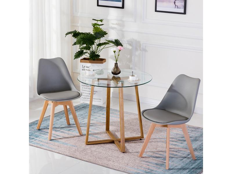 Table ¨¤ manger ronde transparente scandinave ¦µ80*75cm et 2 chaises grises 46x 43 x 83 cm