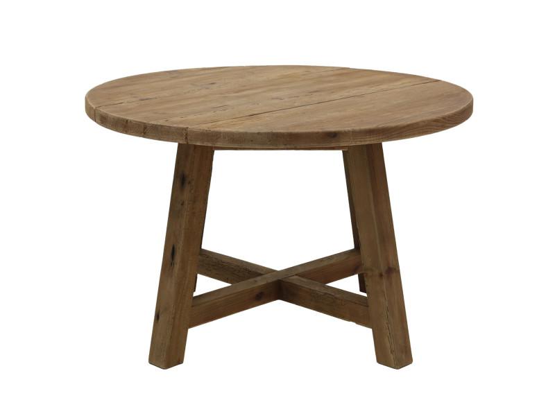 Table repas ronde en pin recyclé 120 cm nebraska