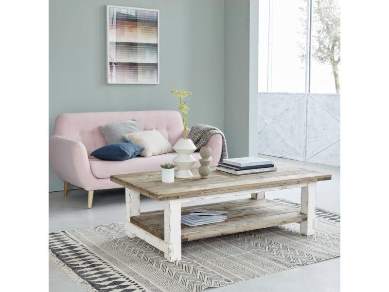 Table basse en bois de pin recyclé double plateau
