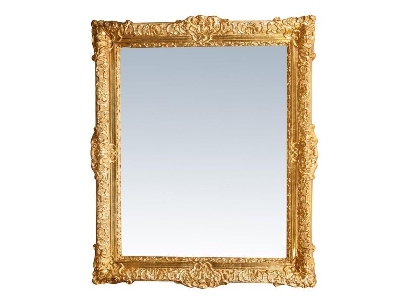 Miroir, long miroir mural rectangulaire, à accrocher au mur, horizontal et vertical, shabby chic, salle de bain, chambre, cadre finition or antique, grand, long, l93xp5.5xh107 cm. Style shabby chic.
