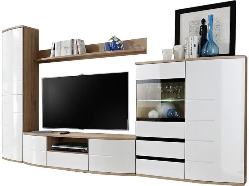 a7eb744ceee682 Ensemble meuble tv 300 cm avec banc tv + étagères + haute colonne de  rangement + vitrine led coloris blanc et chêne p-24349-co c-narciso - Vente  de Meuble ...