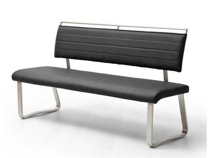 Banc de salle à manger en métal et simili cuir coloris noir - longueur 175 x hauteur 93 x profondeur 59 cm -pegane-