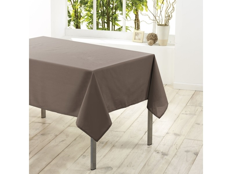 Cdaffaires nappe rectangle 140 x 300 cm polyester uni essentiel taupe 1720219-taupe