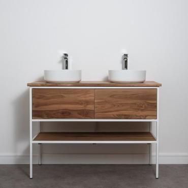 Meuble salle de bain factory en teck et m tal blanc 120 cm - Meuble vasque salle de bain conforama ...