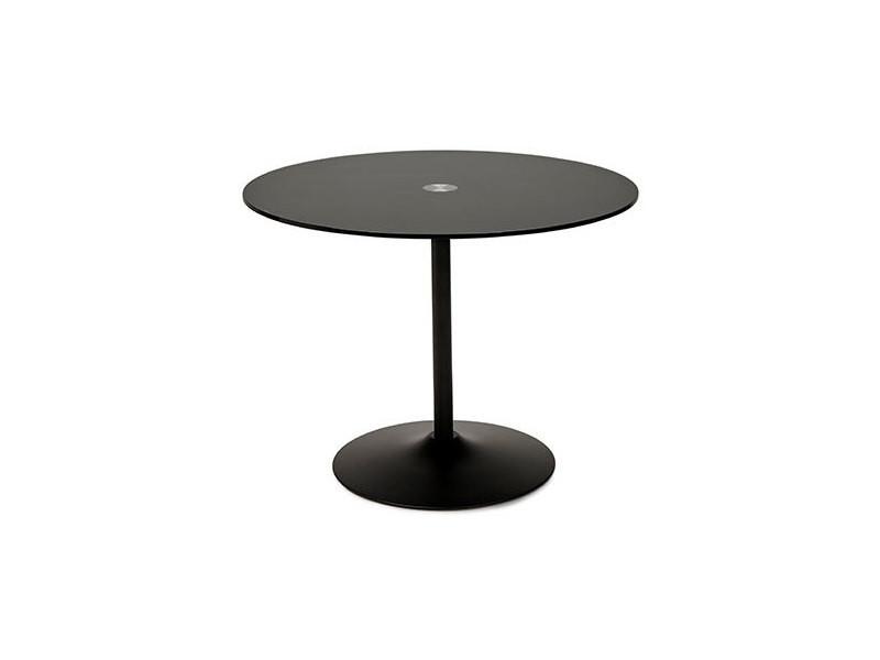 Table à manger ronde 100 cm en verre et métal noir