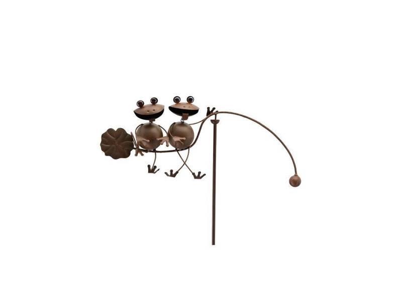 Tuteur tige pour plantes motifs duo grenouilles mobile de jardin rotatif à planter en fer et fonte marron 10x70x128cm