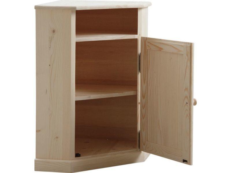 meuble d 39 angle en bois brut vente de aubry gaspard conforama. Black Bedroom Furniture Sets. Home Design Ideas