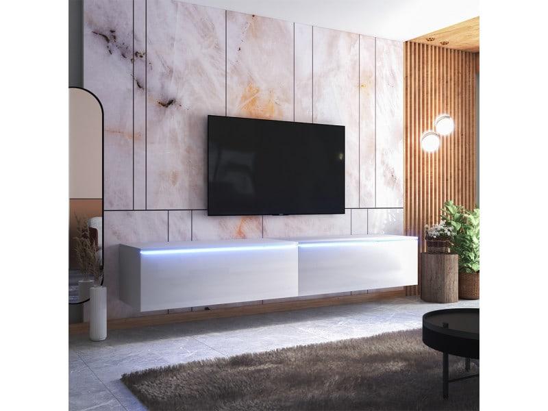 Meuble tv - skylara - 200 cm - blanc mat / blanc brillant - avec led