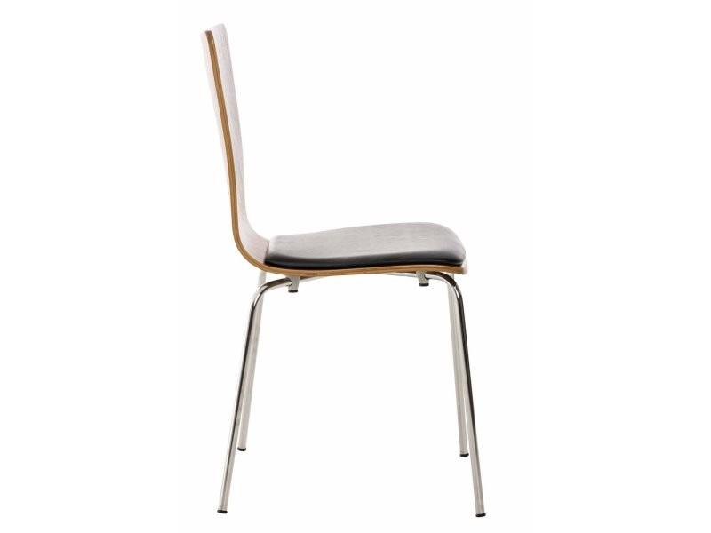 4x chaises de cuisine en bois couleur noyer avec assise rembourrée en simili-cuir noir cds10179 ...