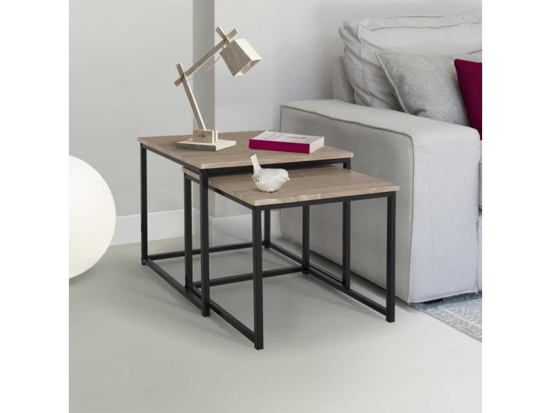 Lot de 2 tables basses gigognes detroit 40/45 design industriel