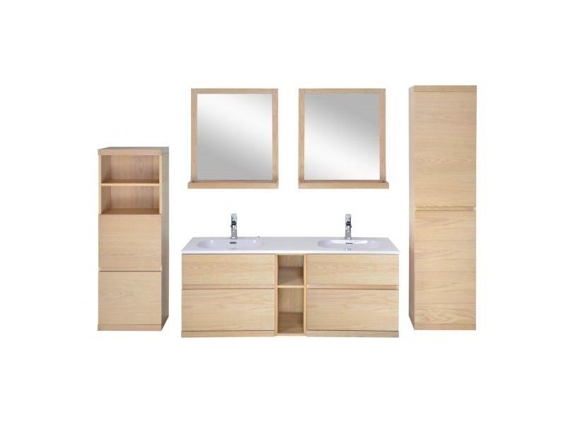 Ensemble salle de bain chêne 140 cm meuble + vasque + 2 ...