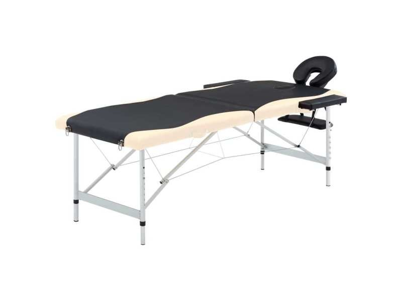 Stylé massage et relaxation selection ouagadougou table de massage pliable 2 zones aluminium noir et beige