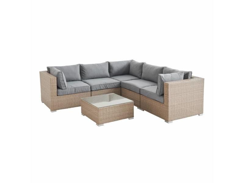Salon de jardin en résine tressée - napoli - beige. Coussins gris clair chiné - 5 places - 2 fauteuils sans accoudoir. 3 fauteuils d'angle. Une table basse